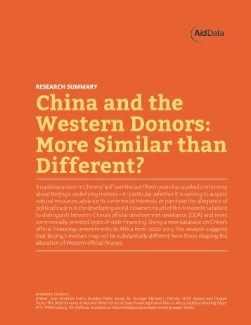 China and the Western Donors More Similar than Different?