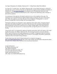 Las Vegas Chiropractor, Dr. Matthew Mortensen D. C., Helps Chronic Back Pain Sufferers