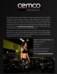 Purchase Workout Equipment Online at Cemco Strength Equipment