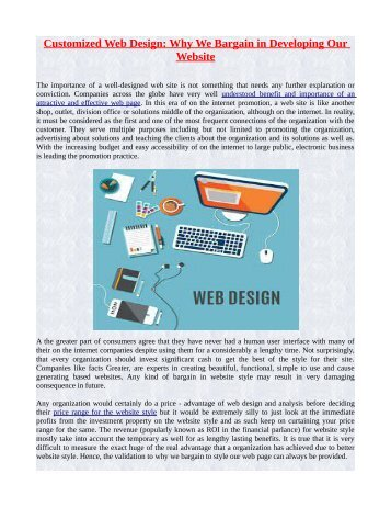 Customized Web Design: Why We Bargain in Developing Our Website