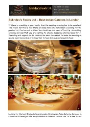 Indian Caterers in London Birmingham - Sukhdev's Foods Ltd