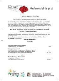 Spezialität, Heukarte, Speisekarte, Restaurant Hotel Rose, Heuwirt