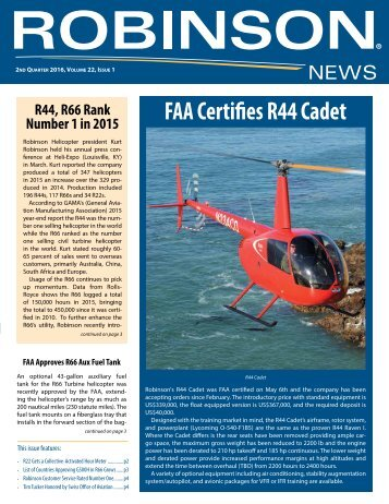 FAA Certifies R44 Cadet