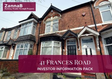 41 Frances Road - Investor Information Pack