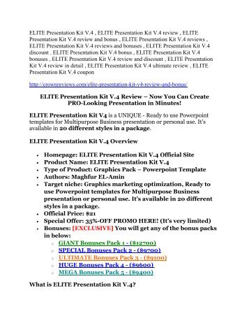 ELITE Presentation Kit V.4 review - ELITE Presentation Kit V.4 (MEGA) $23,800 bonuses