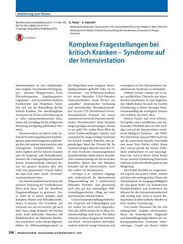 Syndrome auf der ICU Editorial