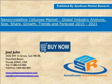 Nanocrystalline Cellulose  Market size in terms of volume and value 2020 by SMR Estimate