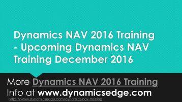 Dynamics nav 2016 training december 2016 los angeles