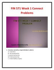 FIN 571 Week 1 Connect Problems - Assignment
