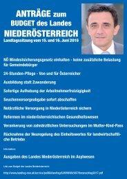 Anträge zum Budget des Landes Niederösterreich