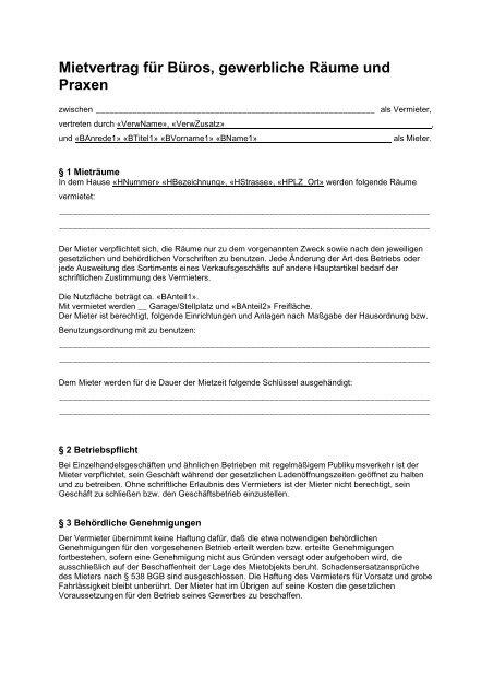 Mietvertrag Für Büros Gewerbliche Räume Und Praxen