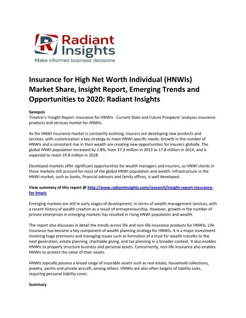 Insurance for High Net Worth Individual (HNWIs) Market Emerging