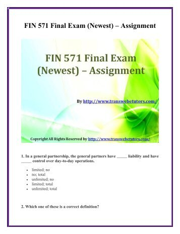 fin571 final exam Click the button below to add the fin 571 final exam to your wish list.