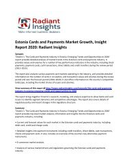 Estonia Cards and Payments Market  Size, Emerging Trends and Opportunities to 2020: Radiant Insights
