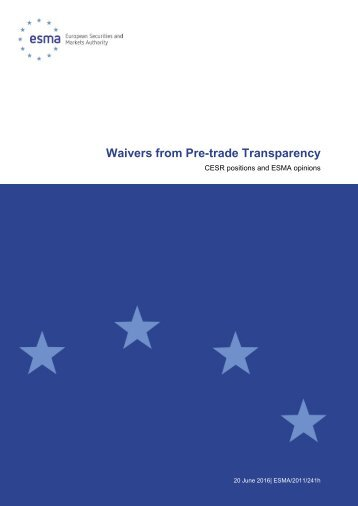 Waivers from Pre-trade Transparency