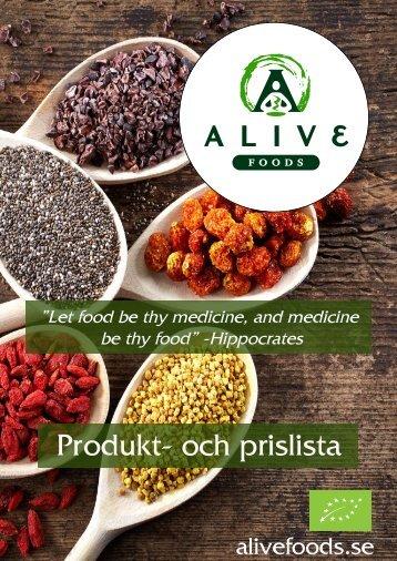 Alive produkt och prislista 2016