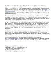 J & G Transmissions In Salt Lake City, UT Provides Transmission Problem Repair Solutions