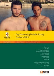 Gay Community Periodic Survey Canberra 2015