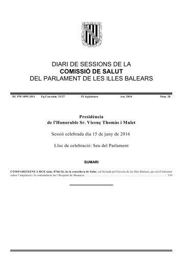 DIARI DE SESSIONS DE LA COMISSIÓ DE SALUT DEL PARLAMENT DE LES ILLES BALEARS
