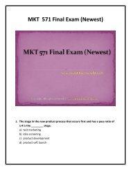 MKT 571 Final Exam (Newest) - Assignment