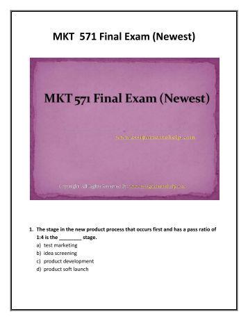 MKT 575 Final Exam : MKT 575 Final Exam Answers : Studentehelp
