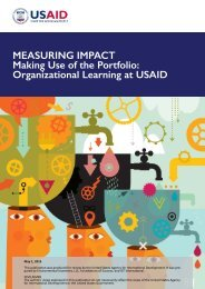 MEASURING IMPACT Making Use of the Portfolio Organizational Learning at USAID