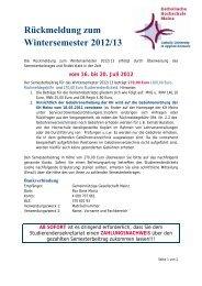 Rückmeldung zum Wintersemester 2012/13 - Katholische ...