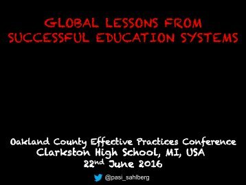 GLOBAL LESSONS FROM SUCCESSFUL EDUCATION SYSTEMS