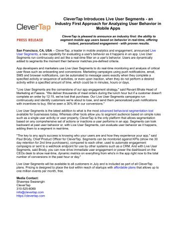 CleverTap Introduces Live User Segments - an Industry First Approach for Analyzing User Behavior in Mobile Apps