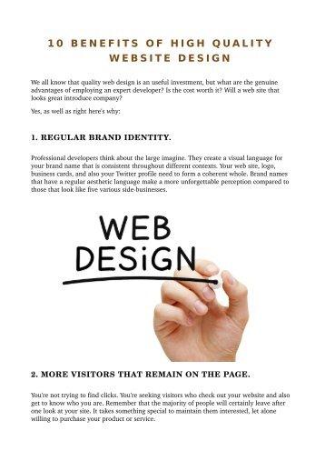 10 BENEFITS OF HIGH QUALITY WEBSITE DESIGN