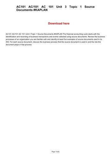 AC101 AC/101 AC 101 Unit 3 Topic 1 Source Documents #KAPLAN