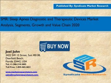 Sleep Apnea Diagnostic and Therapeutic Devices Market – Global Industry Perspective, Comprehensive Analysis and Forecast, 2014 – 2020