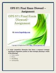 OPS 571 Final Exam (Newest) - Assignment
