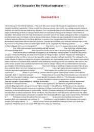 Unit 4 Discussion The Political Institution --