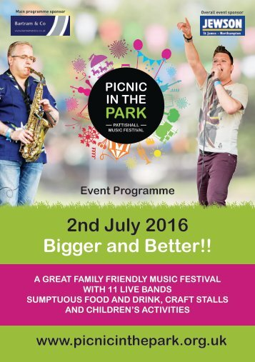 Picnic in the Park 2016 Event programme