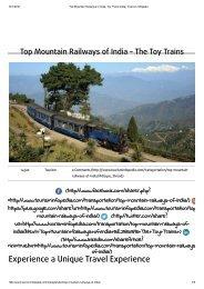 Top Mountain Railways in India, Toy Trains India _ Tourism Infopedia