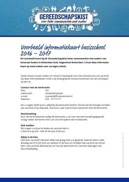 Voorbeeld informatiekaart basisschool 2016 – 2017
