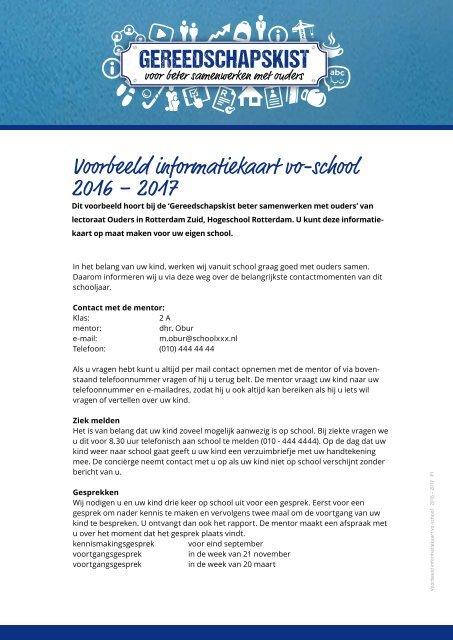 Voorbeeld informatiekaart vo-school 2016 – 2017