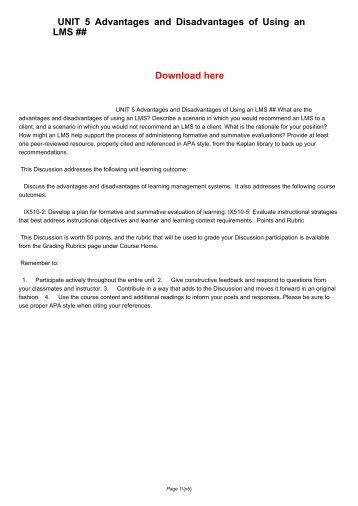 UNIT 5 Advantages and Disadvantages of Using an LMS ##