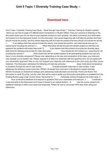 Unit 5 Topic 1 Diversity Training Case Study --