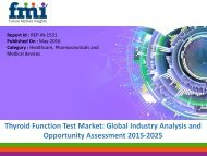 Thyroid Function Test Market is expected to Reach US$ 55.3 Mn Over 2015-2025