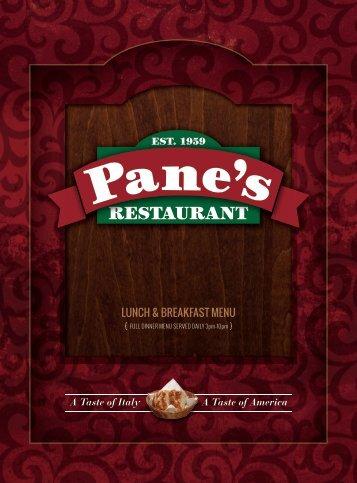 Pane's Restaurant - Breakfast/Lunch Menu