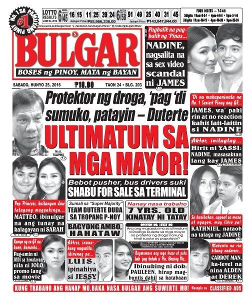 June 25, 2016 BULGAR: BOSES NG PINOY, MATA NG BAYAN