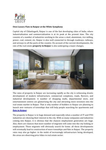 Own Luxury Flats in Raipur at the White Symphony