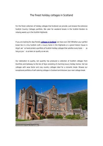The finest holiday cottages in Scotland