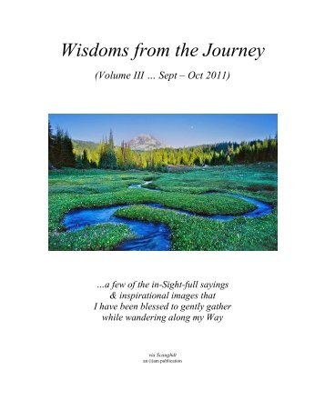 Wisdoms from the Journey - Vol III (Sep - Oct 2011)