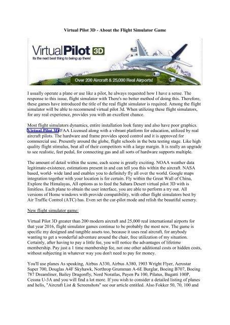 Virtual Pilot 3D - About The Flight Simulator Game