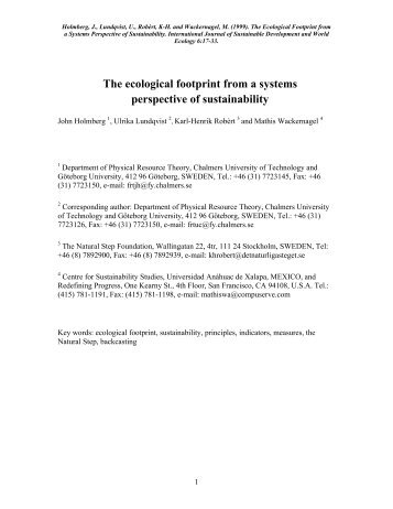 The ecological footprint from a systems ... - The Natural Step