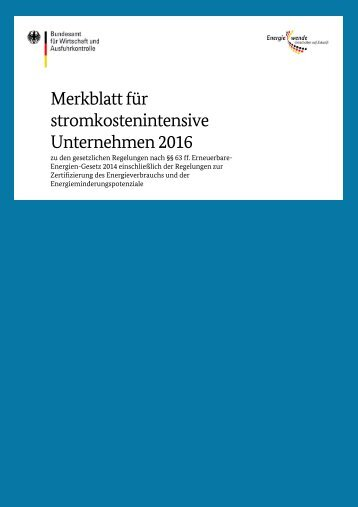 Merkblatt für stromkostenintensive Unternehmen 2016