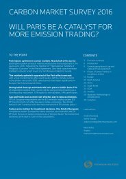 Carbon Market Survey 2016 WILL PARIS BE A CATALYST FOR MORE EMISSION TRADING?